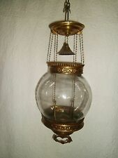 Antique Brass Retractable Pull Down Hanging Candle Lamp Nice!!