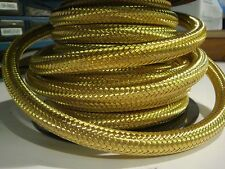 "3/8"" BRASS BRAIDED FUEL HOSE BY THE FOOT Gas tank line chopper bobber harley"