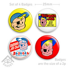 "BAZOOKA JOE Bubble Gum Club Comic -  1"" Badge x4 25mm Badges NEW"