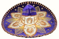 Adult Mexican Mariachi Hat Sombrero Charro Cinco de Mayo Folk Art Purple Gold