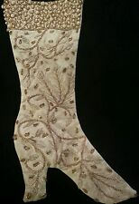 Vtg Katherine's Collection Christmas Stocking Embroidered Beaded Pearl Gold Boot