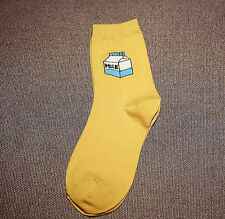 Gold Yellow Milk Carton Bottle Socks Hipster style UK Size 5-8 Fashion EUR 38-42