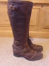 Ladies Long Brown Leather Boots By Principles 37 or 4 Hardly Worn Bargain!