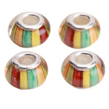 30pcs Hotsale Colorful Wide Stripe Charms Resin Beads Fit European Bracelets J