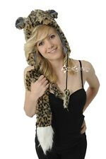 Ladies Animal Trapper Hats with Pom Poms and Tail Scarf Faux Fur Winter Gift