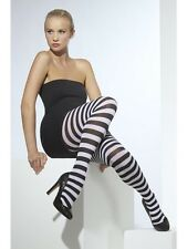 Womens Girls Sexy Black & White Striped Tights Funky Fashion Club Wear Hosiery