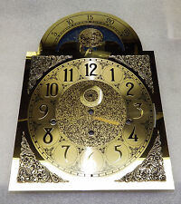 """Grandfather Clock Dial Hermle 1161-853 NEW Brass Color Moon 15 9/16"""" x 11"""" NICE"""