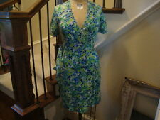 Lilly Pulitzer Blue and Green print 100% Silk Wrap dress CUTE 2