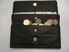 Ladies Leather Purse Wallet Organizer With Many features Black with Silver Trim