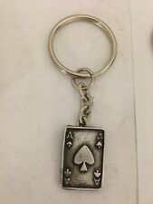 Ace Of Spades Card R149 English Pewter Emblem on a Split Ring Keyring