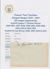 TOM HAMILTON GLASGOW RANGERS 1923-1934 VERY RARE ORIGINAL HAND SIGNED CUTTING