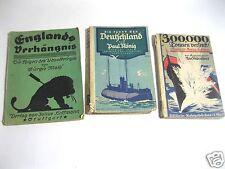 3 alte U-Boot-Bücher: Die Fahrt der Deutschland/300.000 Tonnen versenkt/Englands