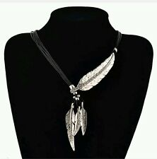 22 inch elegant leather necklace stainless cz cocktail leaf silver