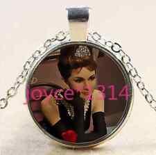 Audrey Hepburn Cabochon Tibetan silver Glass Chain Pendant Necklace #2477