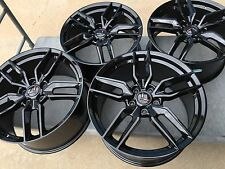 Black 19/20 C7 Z51 R Corvette Stingray Wheels Rims 2014 2015 2016 GM Center Caps
