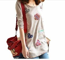 Kyrahh: Women's Long Sleeve Loose Floral Tops Fashion Blouse Bottoming Shirt