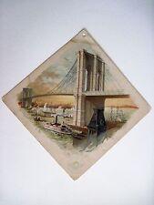 "Stunning Victorian Trade Card ""Clark's O.N.T. Spool Cotton w/Brooklyn Bridge *"
