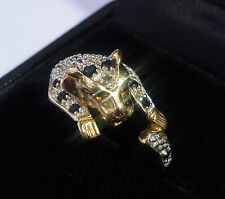 9ct Gold Sapphire & Diamond Panther Ring, Size Q