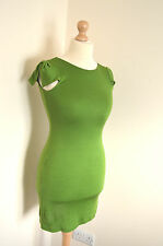 LADIES DESIGNER TED BAKER ELEGANT GREEN SILK JERSEY SHIFT DRESS UK6 BNWT RRP £85