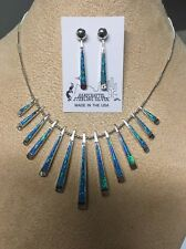 Navajo Native American Turquoise & Blue Opal Inlay Reversible Necklace #12 Wow