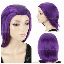 Women's Raven From Teen Titans Cosplay Party Full Wigs Purple Short Straight Wig