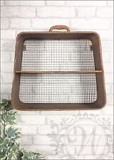 Antique Style Metal Wall Shelf Retro Distressed Storage Industrial Suitcase Rust