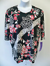 A Personal Touch Top NWT 2X  Black Floral  Blouse Shirt