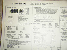 1969 PONTIAC 400 CU IN HIGH COMPRESION 290 HP 2 BBL CARB SUN TUNE UP SPECS SHEET