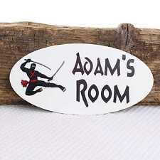 Personalised Door Name Plaque Ninja Warrior Warning Girl Boy Bedroom Room Sign