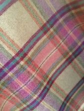 TRADITIONAL WOOL TARTAN TWEED FABRIC WOVEN IN SCOTLAND - HALF METRE- Pink/Cream