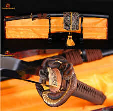 FULL TANG JAPANESE SAMURAI KATANA SWORD DAMASCUS CLAY TEMPERED VERY SHARP BLADE