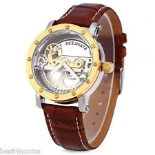 Shenhua 9541 Hollow Mechanical Watch Men Wristwatch Leather Strap
