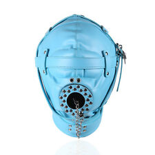 New Blue Bondage Fetish Sensory Deprivation Hood / mask with open Mouth Gag.