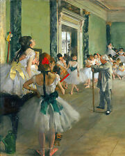 """Ballet Class by Degas STRETCHED CANVAS PRINT 8X10"""""""