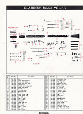 1980 YAMAHA MUSICAL INSTRUMENT PARTS LIST ad sheet - CLARINET model YCL-65