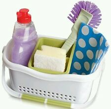 Addis White & Green Kitchen Sink Organiser Stroage Tidy Caddy Cutlery Drainer