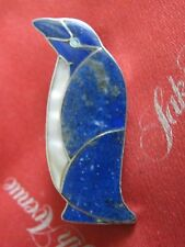 OLD Sterling Silver 950 PENGUIN BROOCH Lapis Lazuli, Mother of Pearl & Turquoise