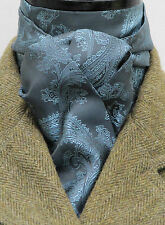Self Tie Airforce Blue and Sky Paisley Satin Riding Stock - Show Hunt Dressage