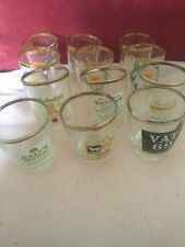 2 Sets of Six Tot Glasses,Depicting Whisky Brands And Scottish Flag & Thistles