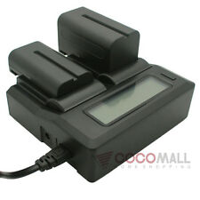 Dual Battery LCD Charger For Canon BP-808 BP-809 BP-819 BP-827 FS200 HF200
