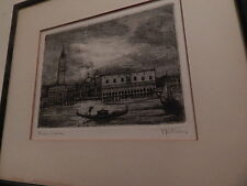 SIGNED IN PENCIL VENICE ETCHING MISSING GLASS COVER INTERNATIONAL SALE