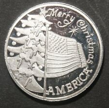 MERRY CHRISTMAS AMERICA  1 OZ .999 PURE SILVER ROUND  LOT 290601