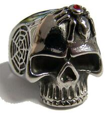 SKULL HEAD WITH SPIDER AND WEB STAINLESS STEEL RING size 7 - S-538 biker  MENS