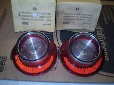 1964 CHEVY BEL-AIR BACKUP LAMP LENSES WITH CHROME IN BOX PAIR VINTAGE