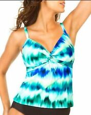 NEW Miraclesuit 2 PC TANKINI SWIMSUIT 12 42 BLACK WHITE BLUE $150 Roswell