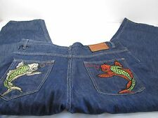 Evisu Jeans 40x32 Koi Fish Japanese Selvedge BAGGY Mens Embroidered Hip Hop