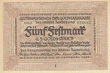 Rendsburg -Kreis- 5 Goldmark vom 25.10.1923