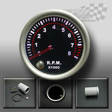 "REV COUNTER TACHO RPM GAUGE 52mm 2"" SMOKED FACE 7 COLOUR DASH DISPLAY GAUGE"