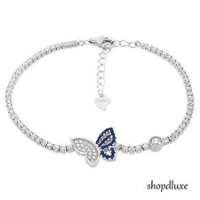 STUNNING ROUND CUT BLUE & CLEAR CZ 925 STERLING SILVER BUTTERFLY TENNIS BRACELET