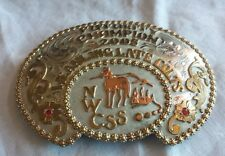 Frontier Silver Hand Etched  Cowboy Belt Buckle NWCSS 2005 CHAMPION